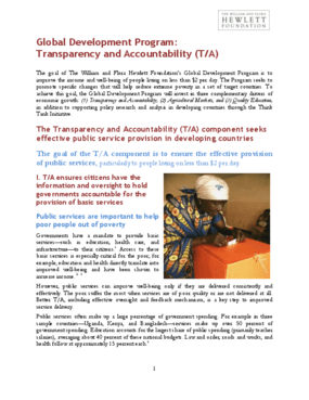 Global Development Program: Transparency and Accountability